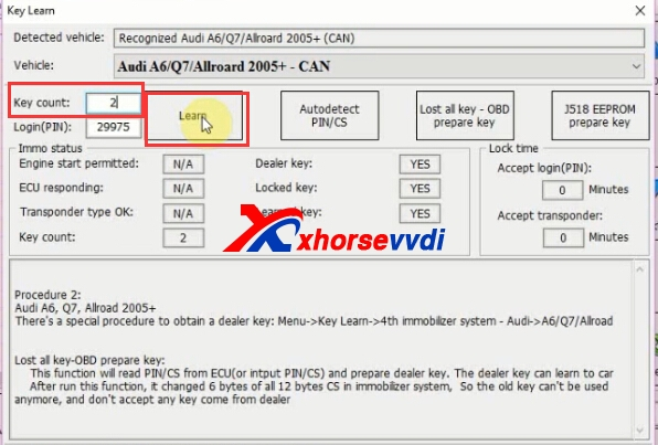 How to use VVDI2 Key Programmer Program Audi Q7 2007 key