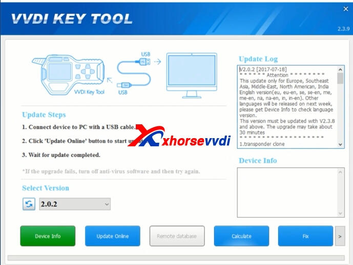VVDI KEY TOOL Update Software